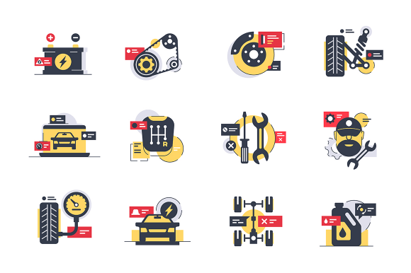 Set car service icons with tires, motor, transmission, repair tool.