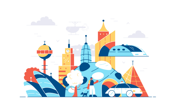 Modern city landscape vector illustration. Big metropolis with skyscrapers, public transport and sightseeing flat style concept. Urban cityscape concept