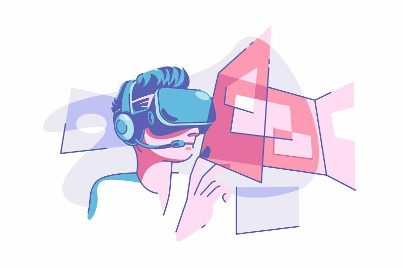 Virtual reality glasses vector illustration. Person wearing vr glasses and having fun flat style. Modern technology and entertainment concept. Isolated on white background
