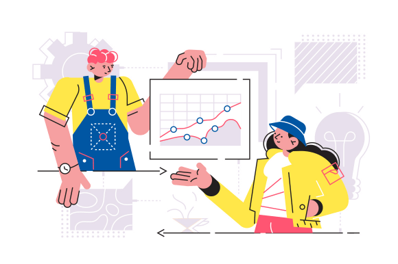 Team discussing new project vector illustration. Man and woman growth graph and talking about profitability and rentability of start-up flat style design. Business meeting concept
