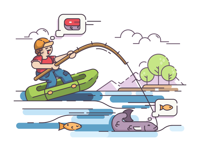 Fisherman in rubber boat fishing on lake. Vector flat illustration