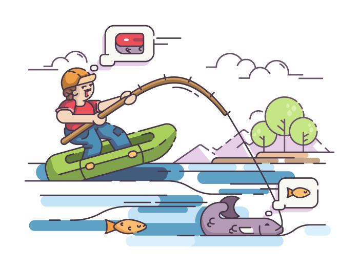 Fisherman in rubber boat fishing on lake. Vector flat illustration