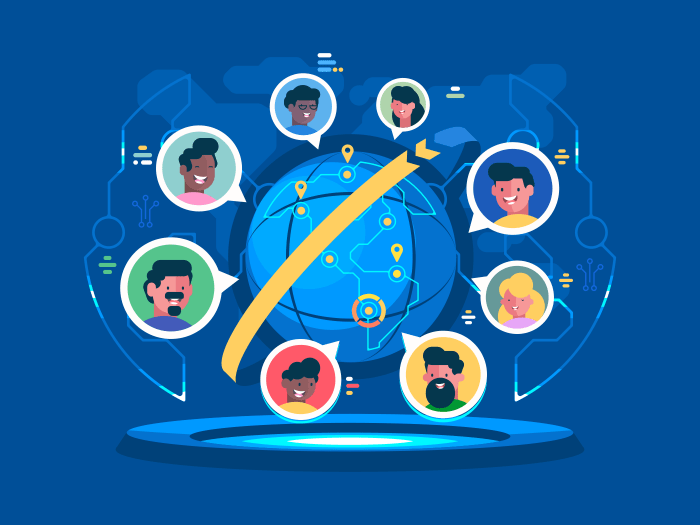 Global communication worldwide. People communicate at a distance. Vector flat illustration