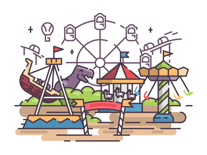 Amusement park with swing and merry-go-round and ferris wheel. Vector illustration