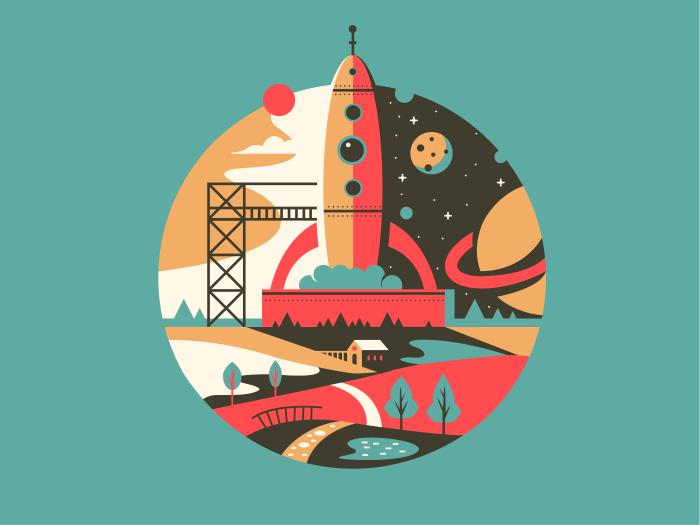 Startup rocket launch flat vector illustration