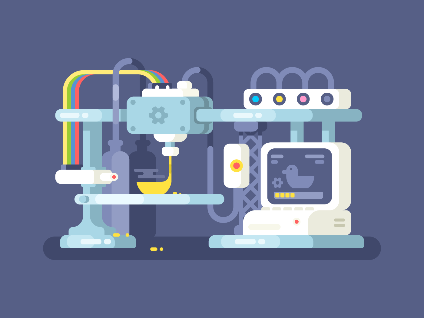 Printing device flat vector illustration