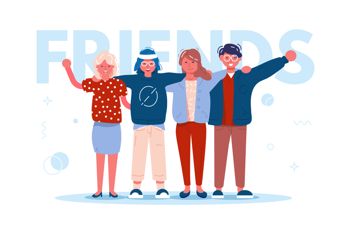 Happy best friends hugging vector illustration. Smiling men and women standing together flat style concept. Four cheerful boys and girls cartoon characters
