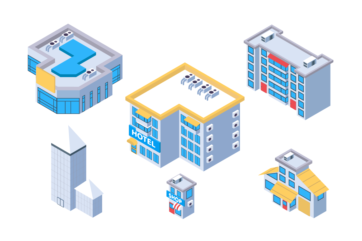 3d isometric set city building with hotel and shop.