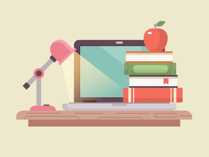 Workspace laptop and books flat illustration