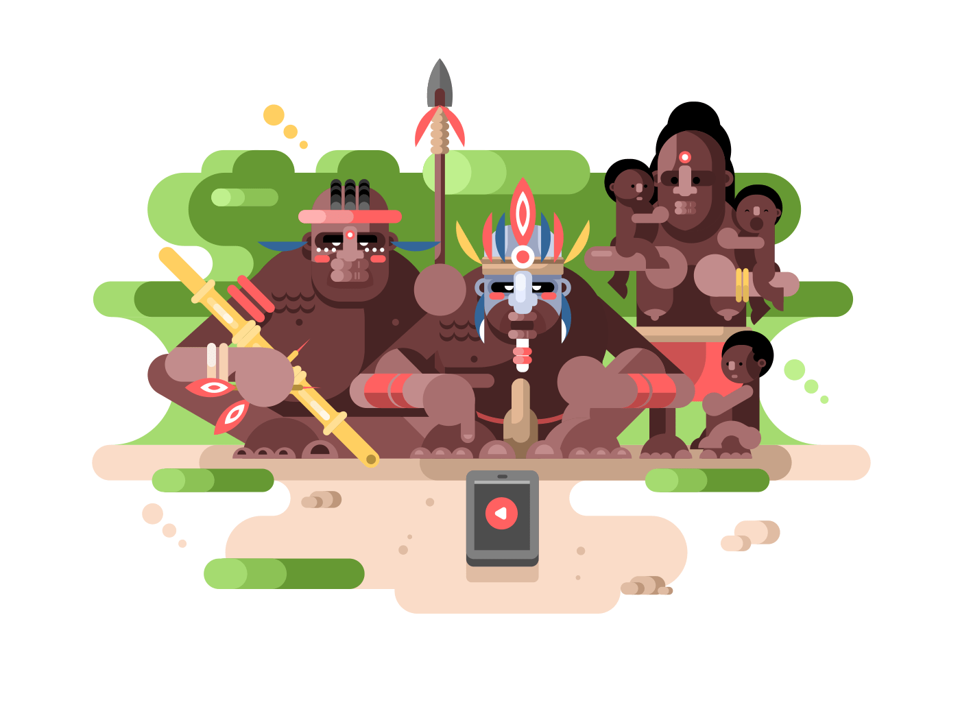 Aboriginal tribe and a smartphone flat vector illustration