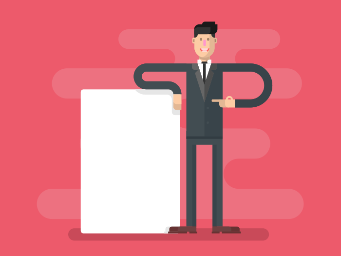 Man with advertising flat vector illustration