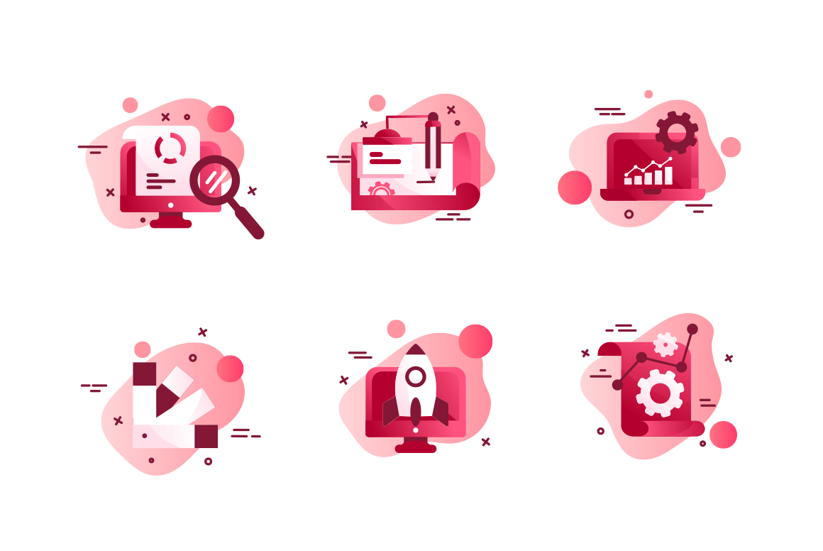 Set icons with agency design, laptop, diagram, rocket, online search.