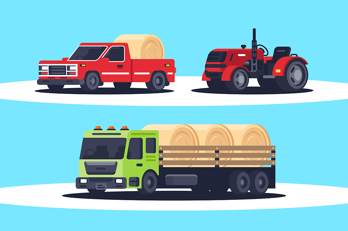 Flat agricultural machinery with stack of hay for harvesting, crop delivery and pickup truck for freight transportation.
