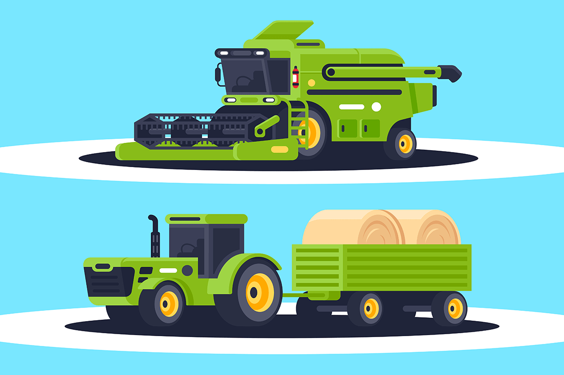 Flat agricultural machinery with stack of hay for harvesting, crop delivery.
