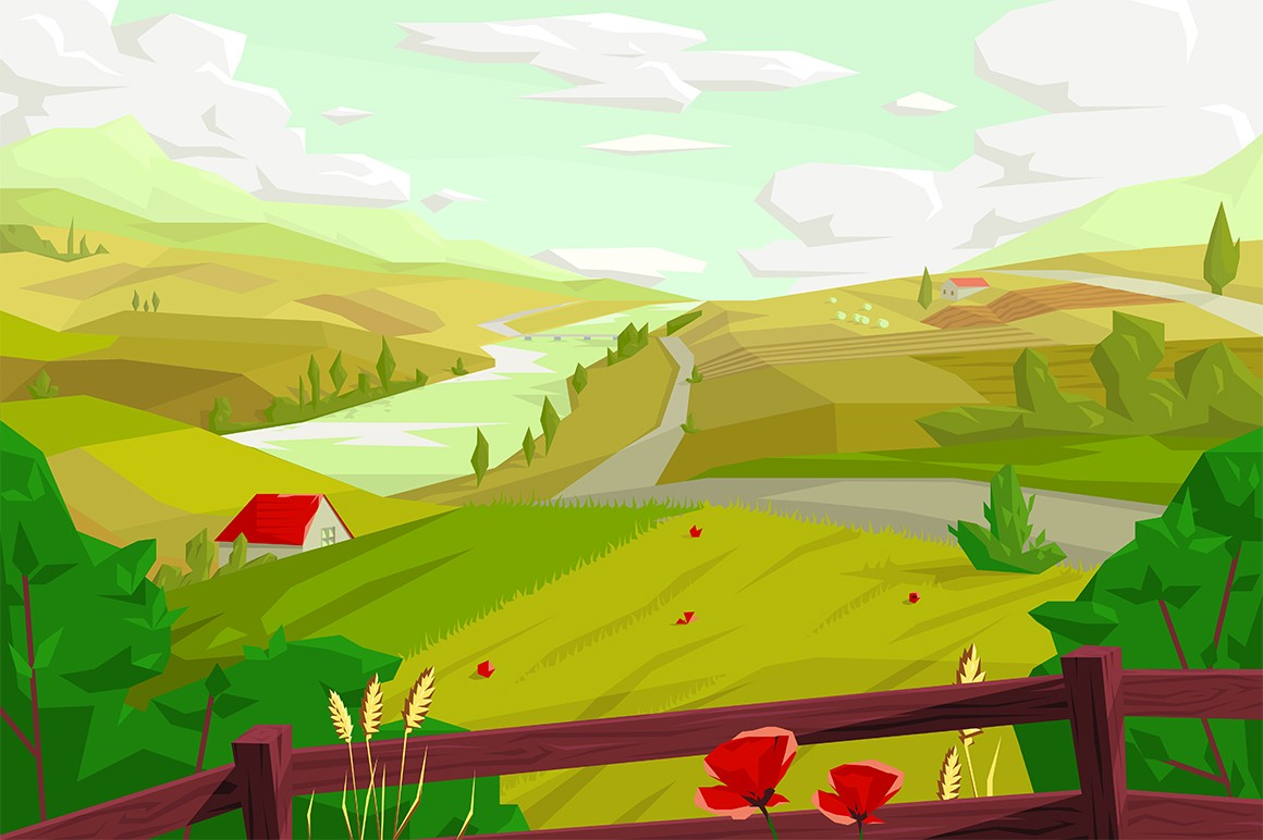 Rural landscape with agro field vector illustration. Green meadow, houses and river picturesque scene flat style design. Countryside scape. Agriculture and organic farming concept