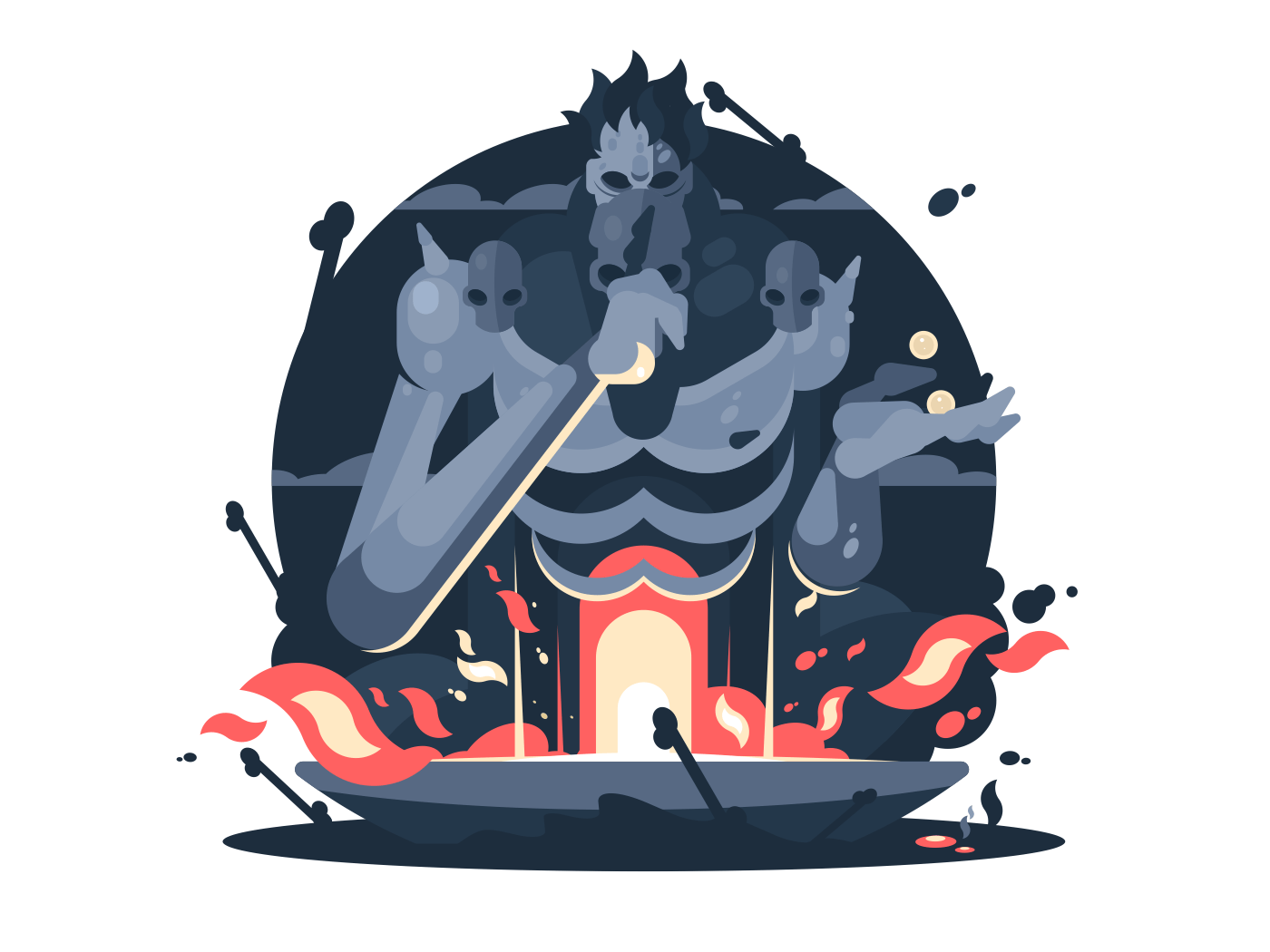 Character of Hades god death. Ancient greek mythology. Vector flat illustration