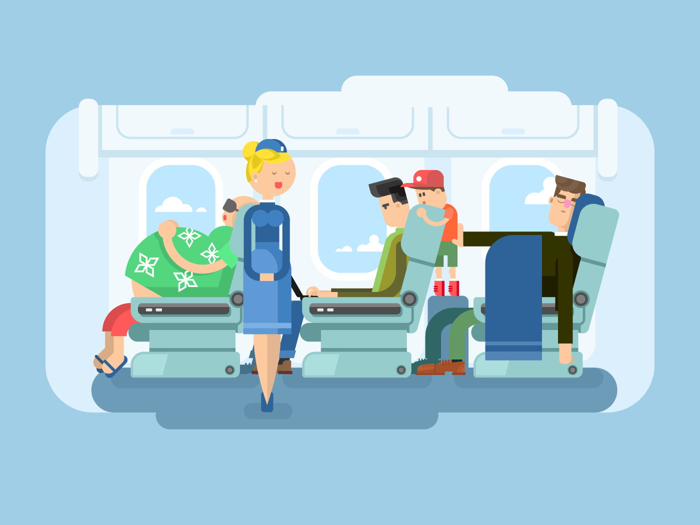 Interior of plane flat vector illustration