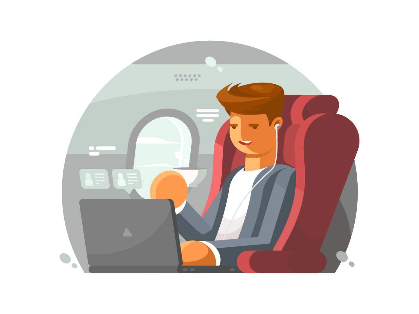 Businessman on plane illustration