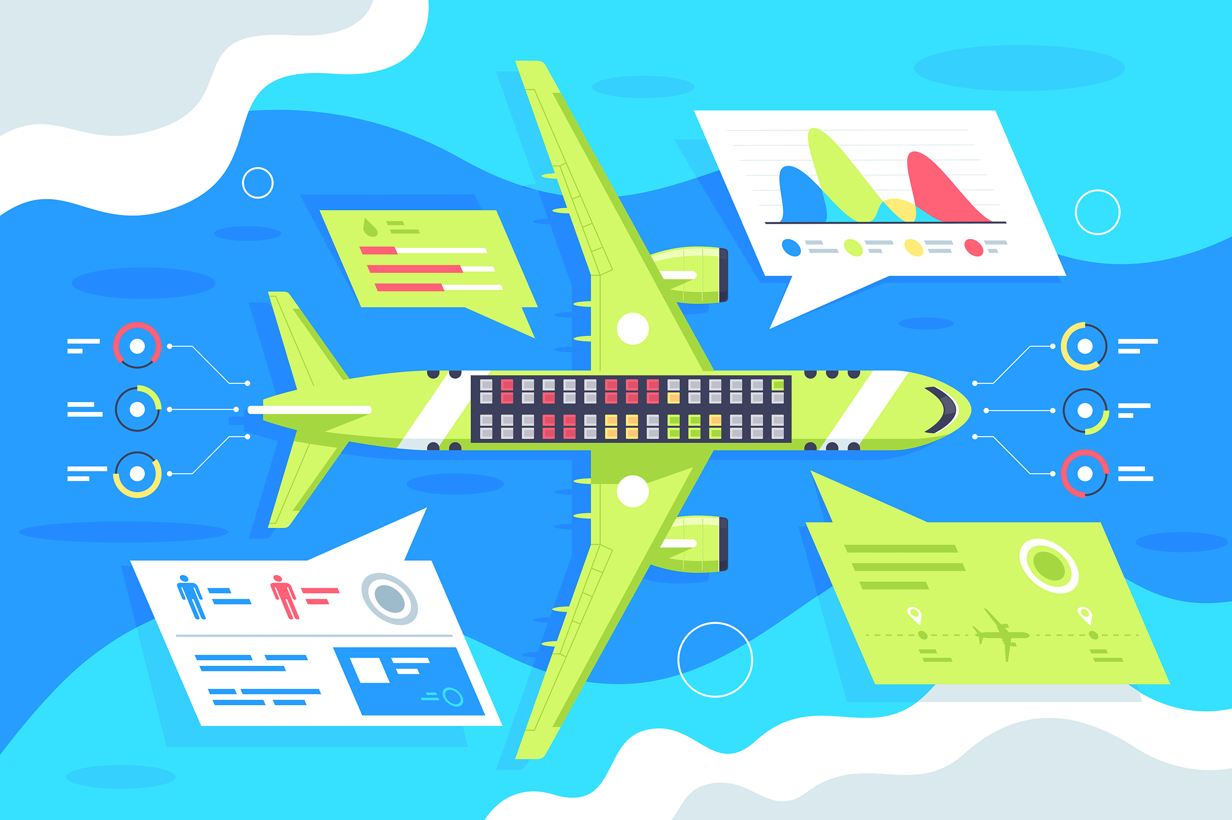 Flat airplane infographics with passenger and plane statistic.