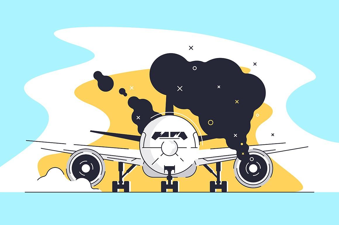 Flat burning airplane on runway at airport.