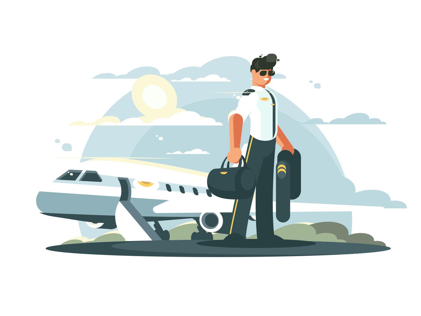 Profession pilot of aircraft. Man in uniform standing near airplane. Vector illustration