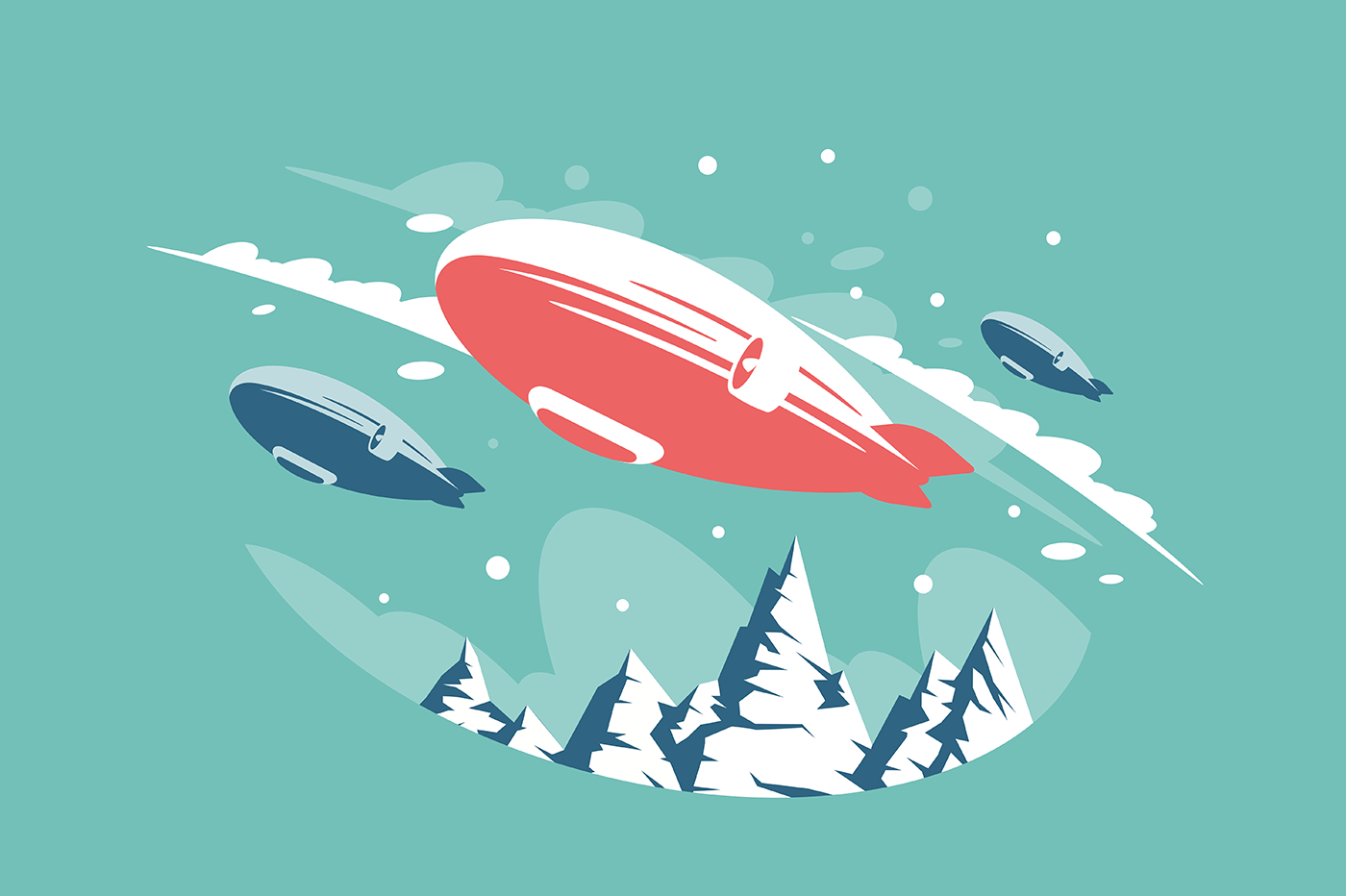 Airships in air above snowy mountains.