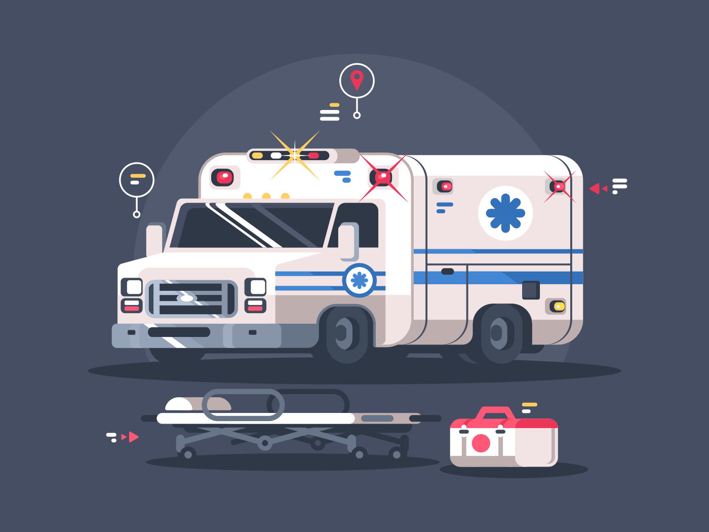 Ambulance car with bright flasher. Stretcher for patient and first-aid kit. Vector illustration