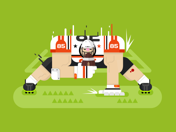 American football player flat vector illustration