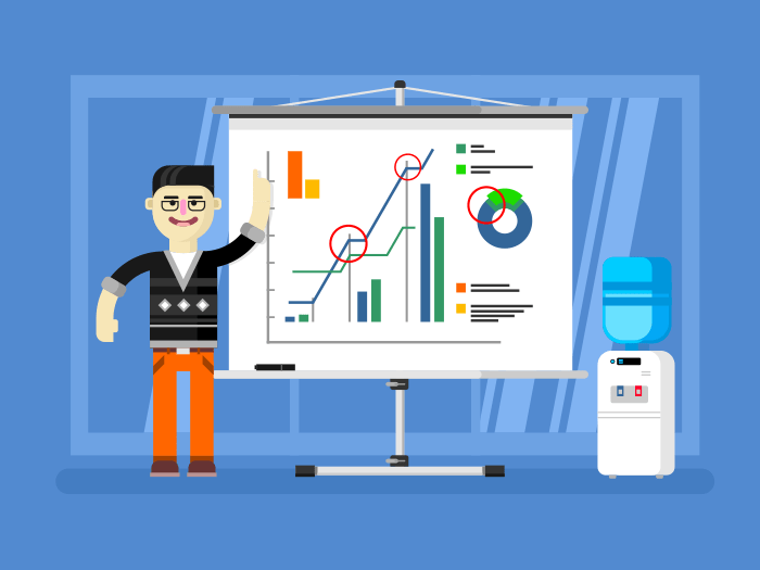 Financial analyst shows report flat vector illustration
