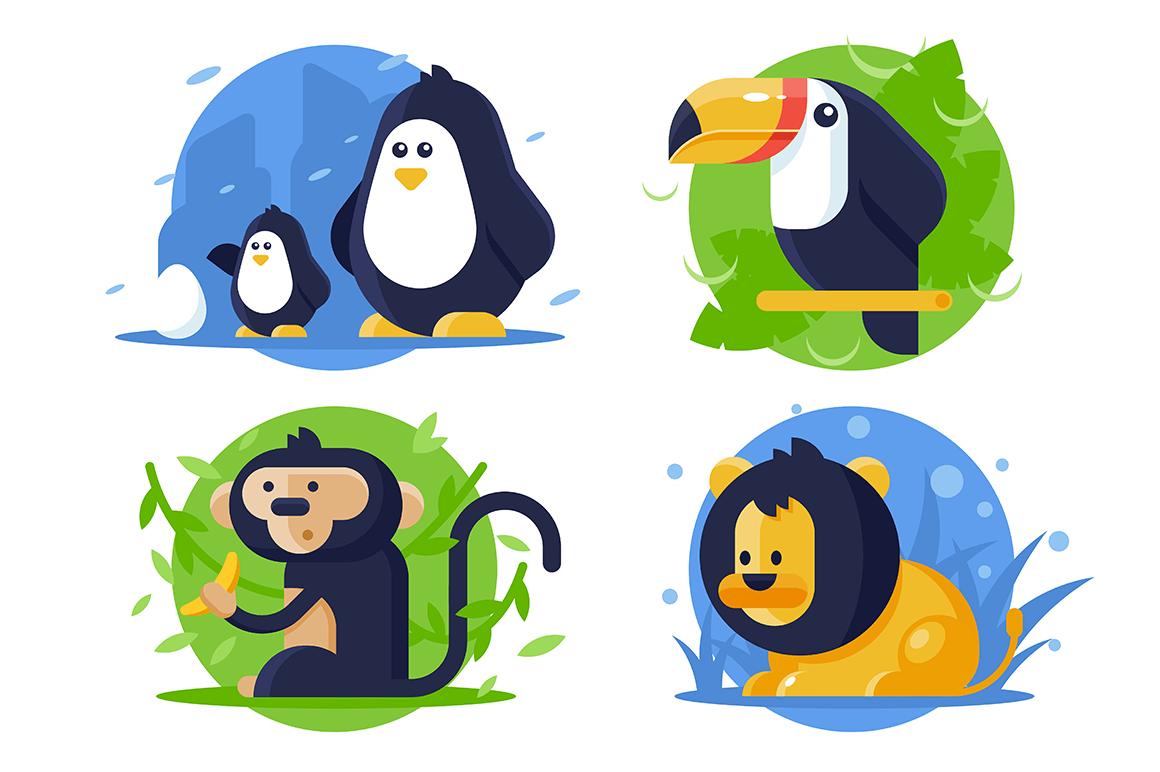 Set icon animals with lion, penguin, monkey, toucan.