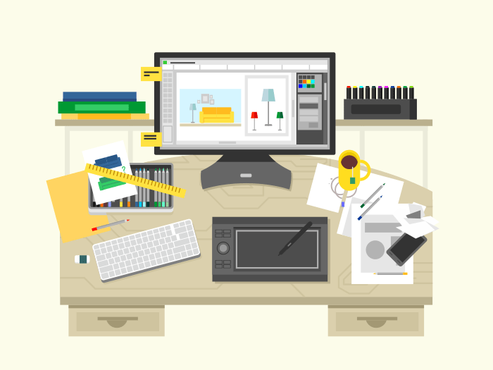 Interior design workspace flat vector illustration