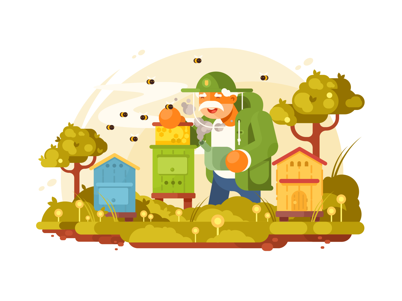 Beekeeper elderly man illustration