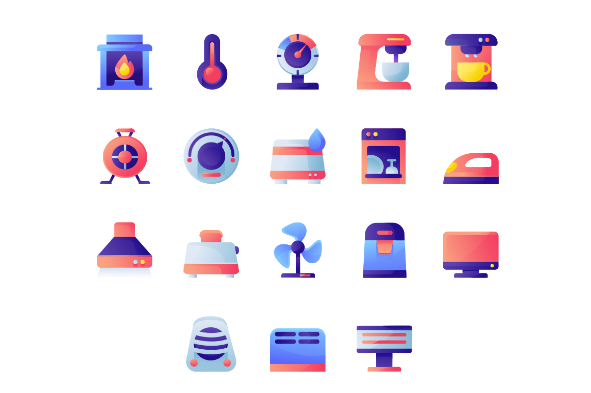 Appliances icon set