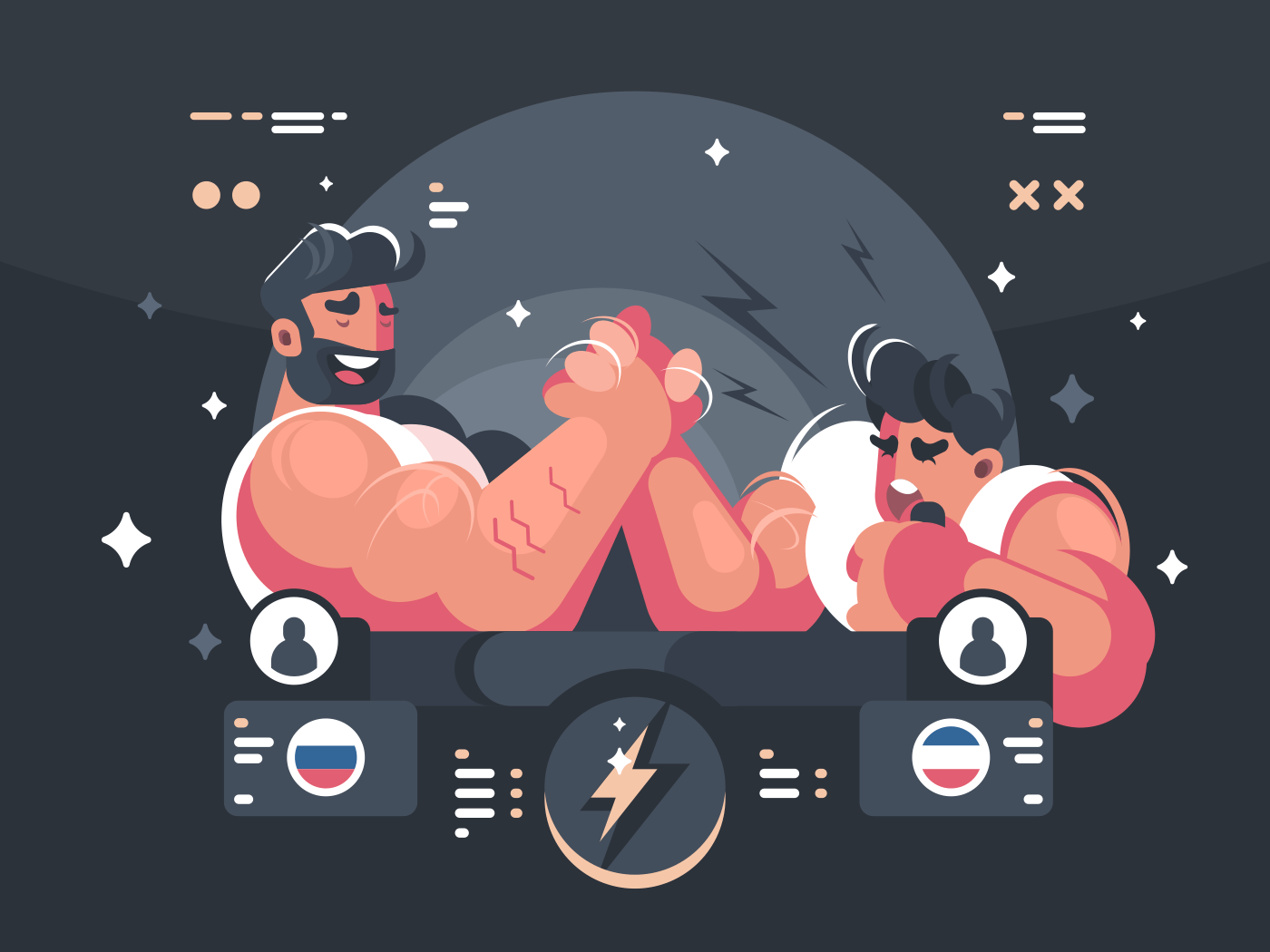 Competitions in armwrestling, two athletes compete in wrestling. Vector illustration