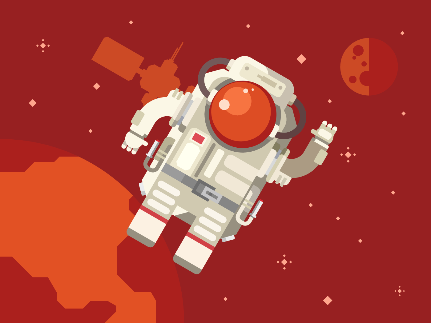 Astronaut in outer space flat illustration flat vector illustration red version