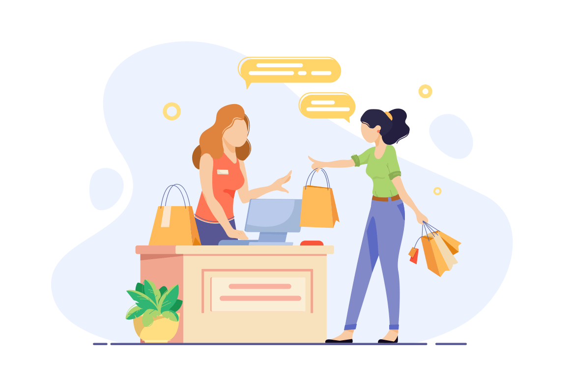 Young woman engaged in shopping and checkout her purchases.