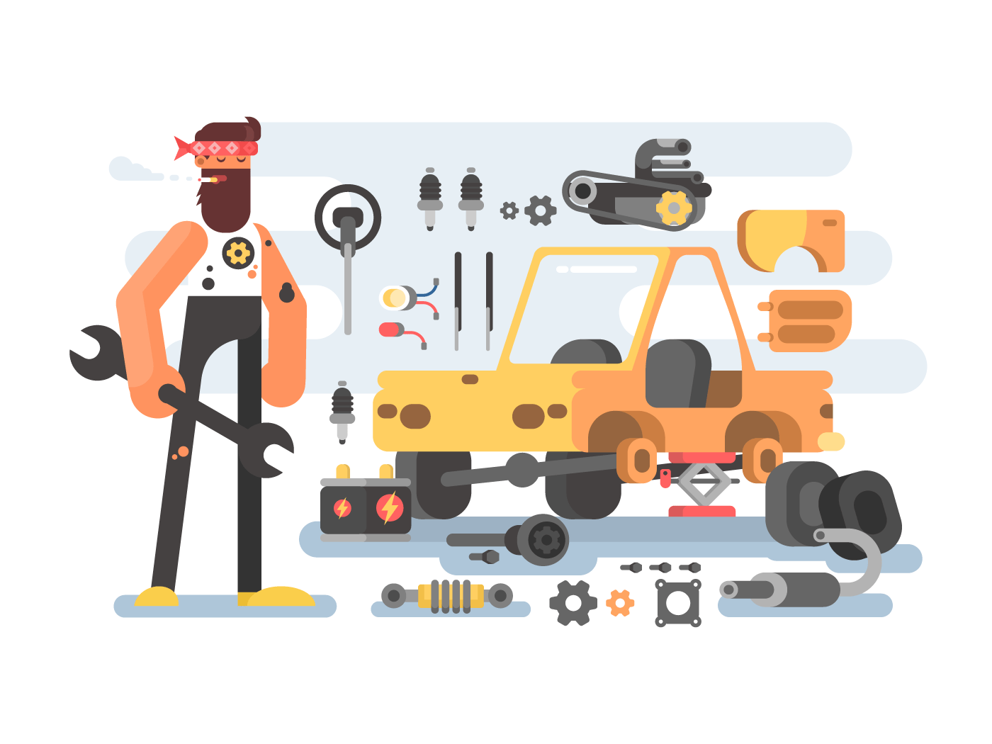 Auto detailing machine workroom flat vector illustration