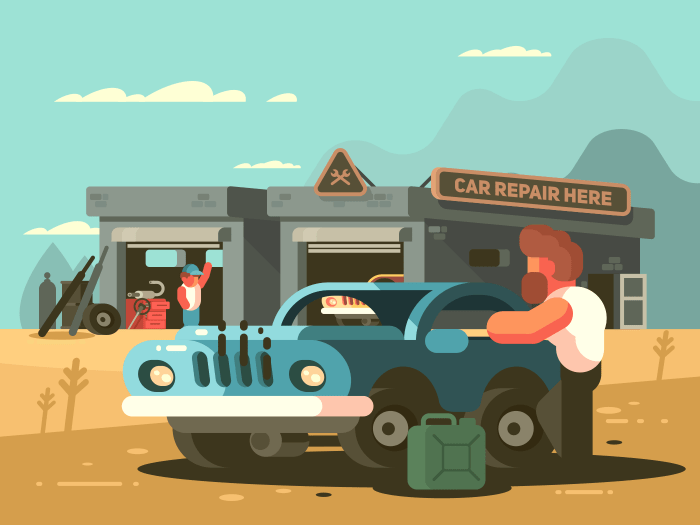 Roadside repair car service. Auto garage with mechanic. Vector illustration