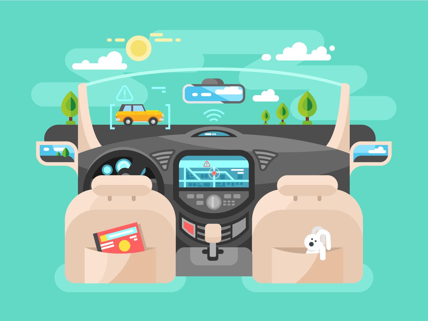 Automobile computer assistent flat vector illustration