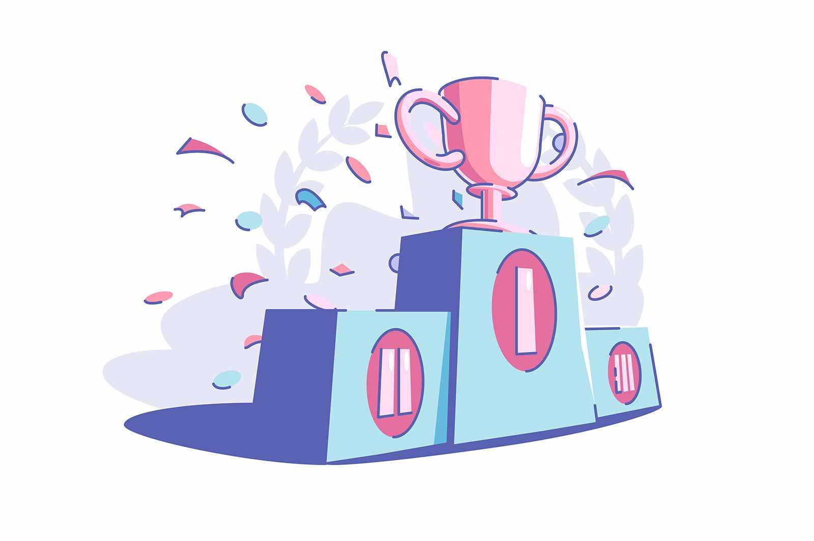 Winners sport trophy vector illustration. Golden cub award flat style. Festive confetti in air. Success and goal achievement concept. Isolated on white background