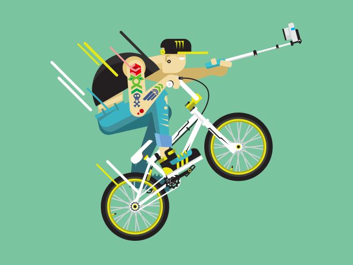 Active bicyclist, BMX flat vector illustration