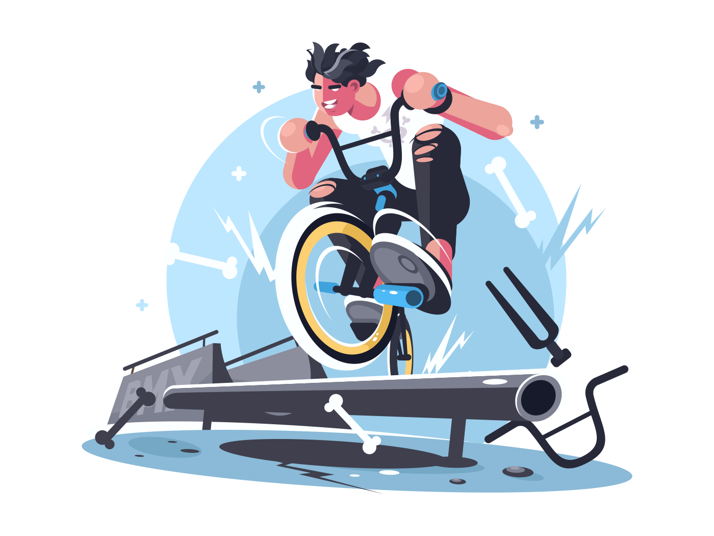 Young guy riding bicycle bmx on sport playground. Vector illustration