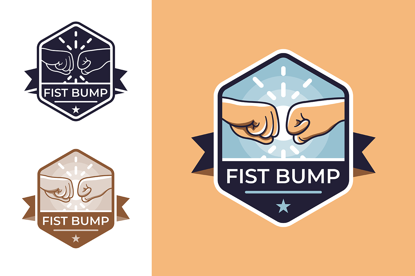 Badge for friendship with fist bump.