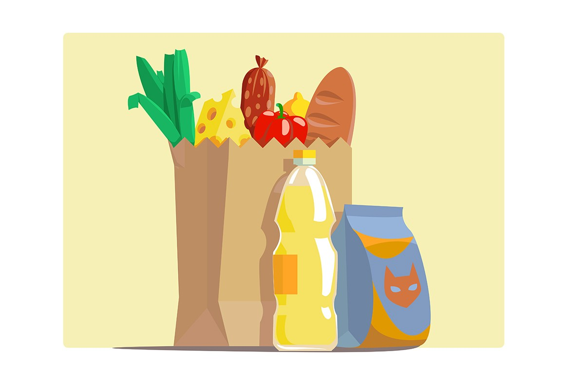 Paper package with fresh groceries vector illustration. Cheese red pepper baguette bottle with juice sausage lemon and greenery cartoon design. Food concept