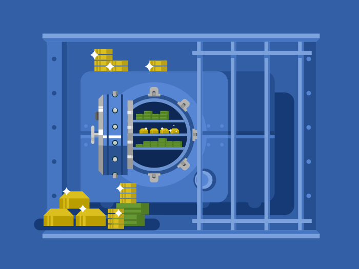 Bank safe flat design flat vector illustration