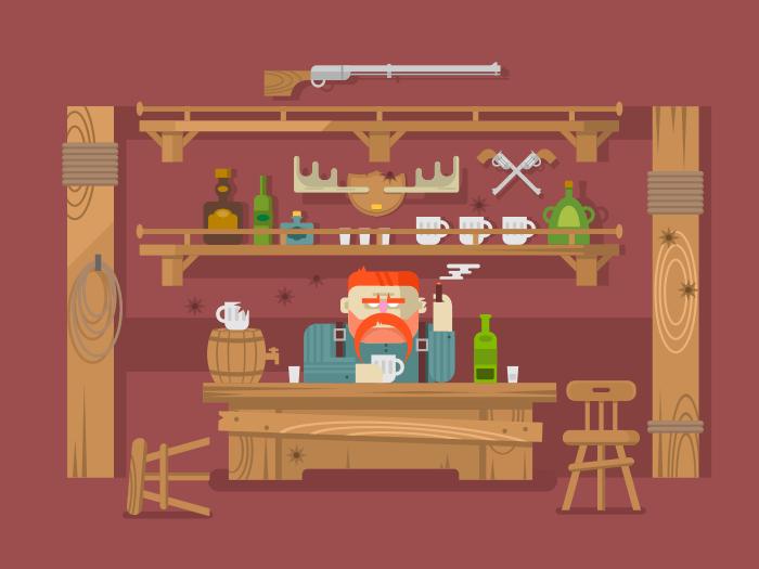 Interior of bar flat vector illustration