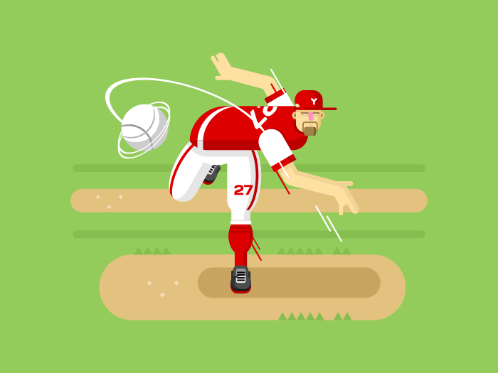 Baseball player character flat vector illustration