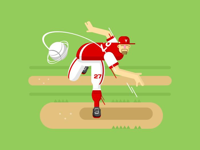 Baseball player character flat vector illustration