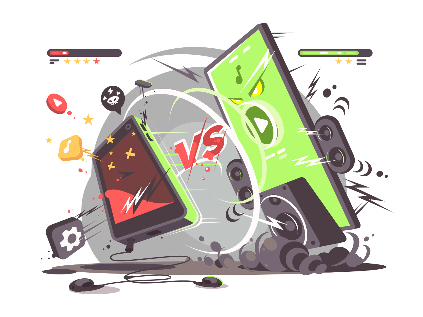 Battle of smartphones vs. Comparison of new technologies modern phone. Vector illustration