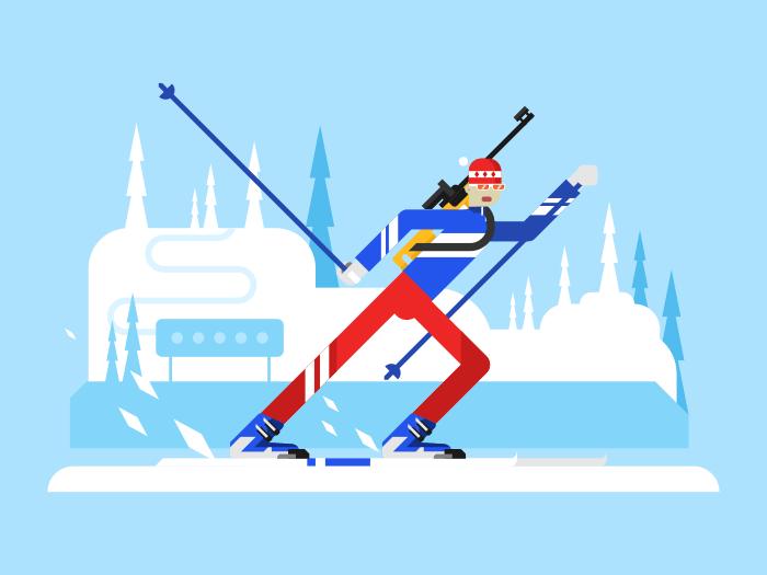 Sportsman biathlon character flat vector illustration
